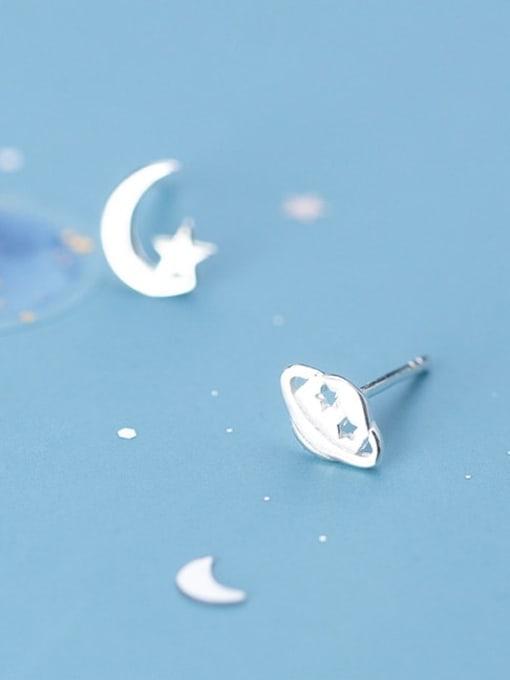 Rosh 925 Sterling Silver Asymmetry  Star Minimalist Stud Earring
