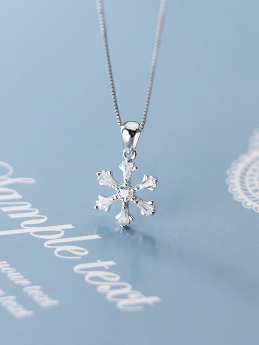 Rosh 925 Sterling Silver Snowflake Diamond Pendant  (no chain) 0