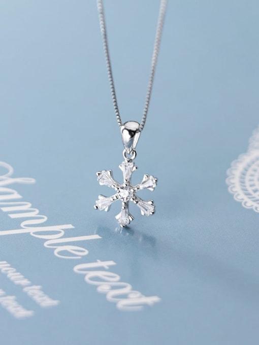 Rosh 925 Sterling Silver Snowflake Diamond Pendant  (no chain)