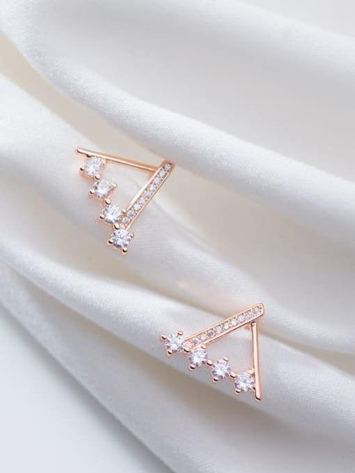 Rosh 925 Sterling Silver Rhinestone  Triangle Minimalist Stud Earring