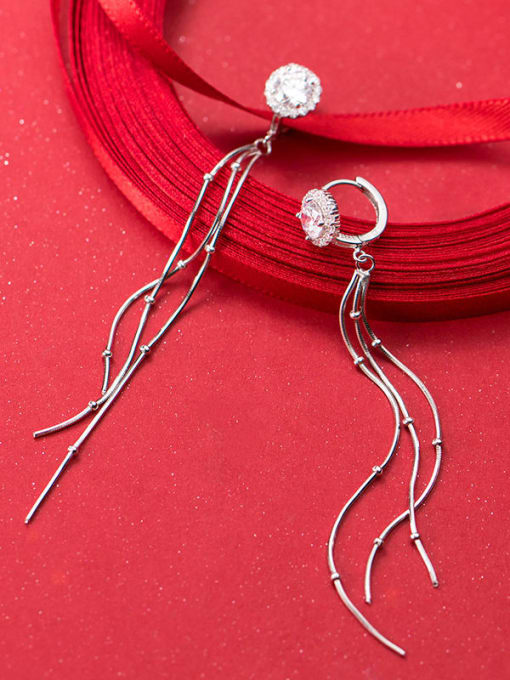 Rosh 925 Sterling Silver Cubic Zirconia  Tassel Minimalist Threader Earring 2
