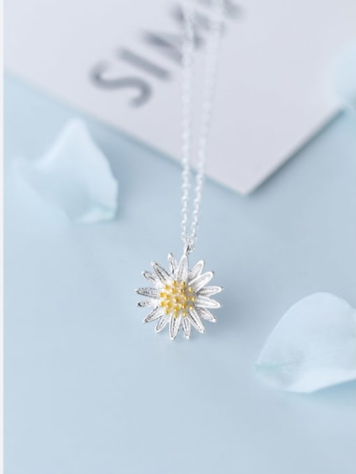 Rosh 925 Sterling Silver Simple flower pendant Necklace 2