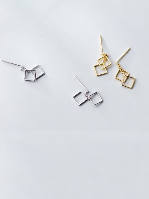 Rosh 925 Sterling Silver Hollow Square Minimalist Drop Earring 0