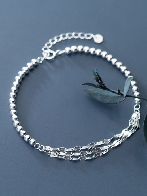 Rosh 925 sterling silver minimalist small silver light Beaded multi-layer twisted bracelet