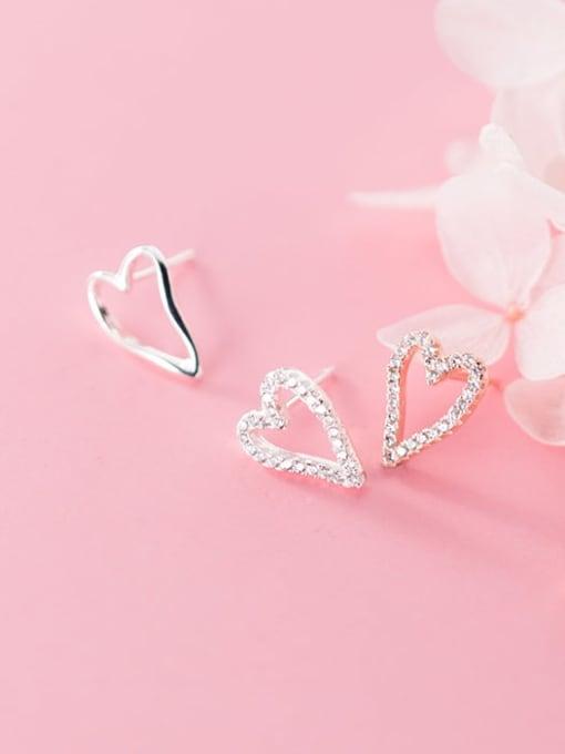 Rosh 925 Sterling Silver Simple asymmetric Hollow Heart Stud Earring 2