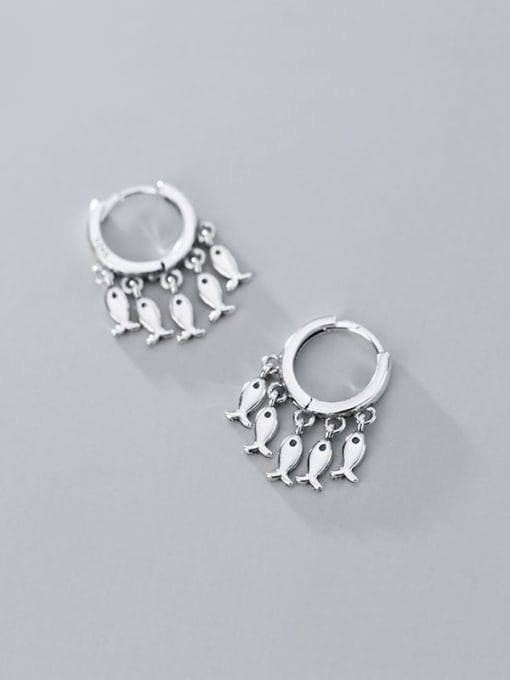 Rosh 925 Sterling Silver Many creative fish Classic Huggie Earring 2