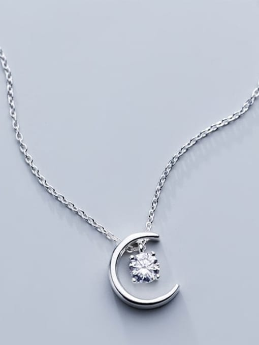 Rosh 925 Sterling Silver Simple Fashion Single Diamond Moon Pendant Necklace 1