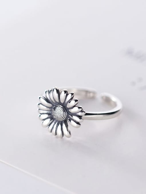 Rosh 925 Sterling Silver Flower Vintage Free Size Band Ring 1