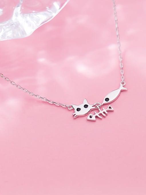 Rosh 925 Sterling Silver Fashion cute cat fish pendant Necklace 1