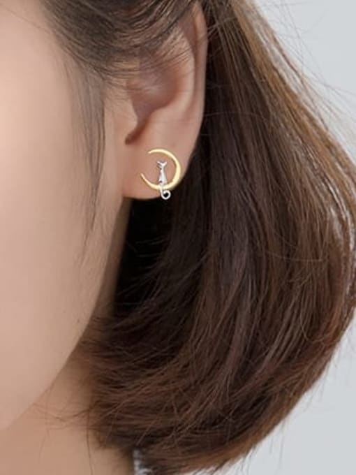 Rosh 925 Sterling Silver Cat Moon Minimalist Stud Earring 1