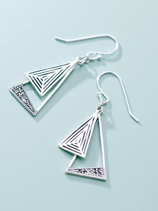 Rosh 925 Sterling Silver Triangle Vintage Hook Earring