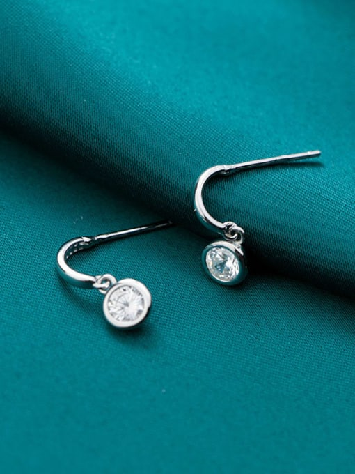 Rosh 925 sterling silver cubic zirconia Round minimalist stud earring 2