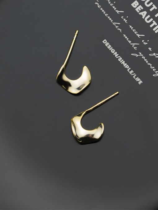 Rosh 925 Sterling Silver  Smooth Irregular Minimalist Stud Earring 1