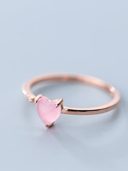 Rosh 925 Sterling Silver Crystal Pink Heart Minimalist Band Ring 3
