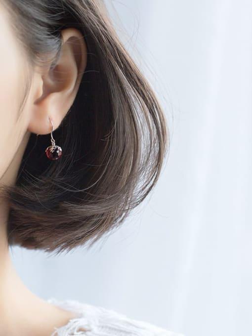 Rosh 925 Sterling Silver  Red Ball Vintage Hook Earring 3