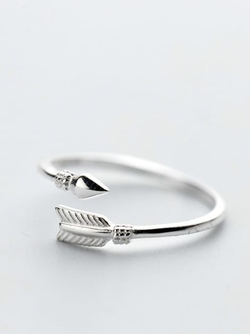 Rosh 925 Sterling Silver Feather Minimalist Free Size Ring