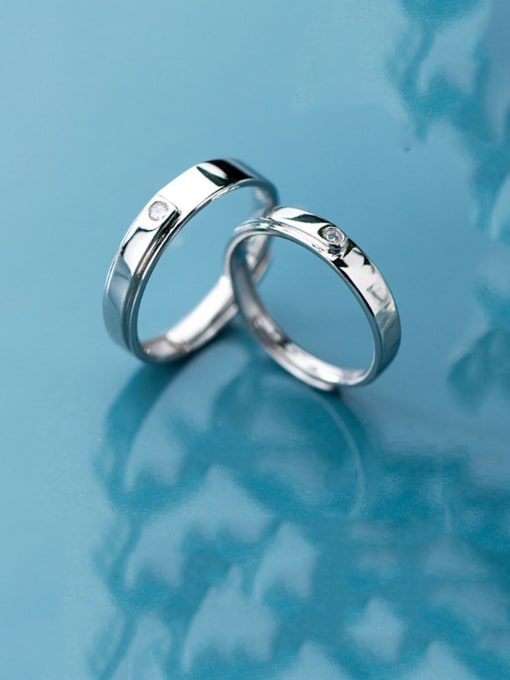 Rosh 925 Sterling Silver Rhinestone Minimalist  Round Free Size Couple Ring 1