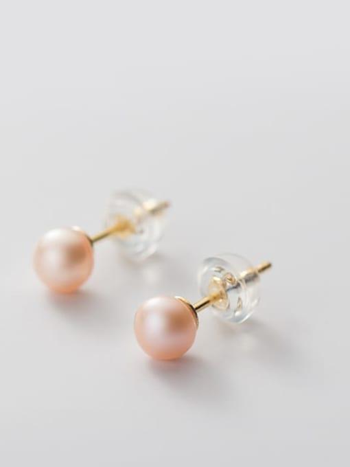 Orange Pearl Earrings Gold 4 5mm 925 Sterling Silver Freshwater Pearl  Round Minimalist Stud Earring