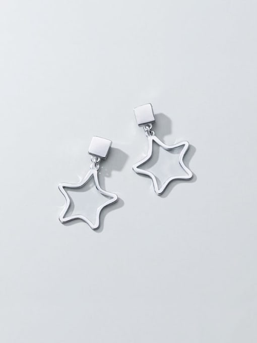 Rosh 925 Sterling Silver Smooth Geometric Minimalist Drop Earring 2