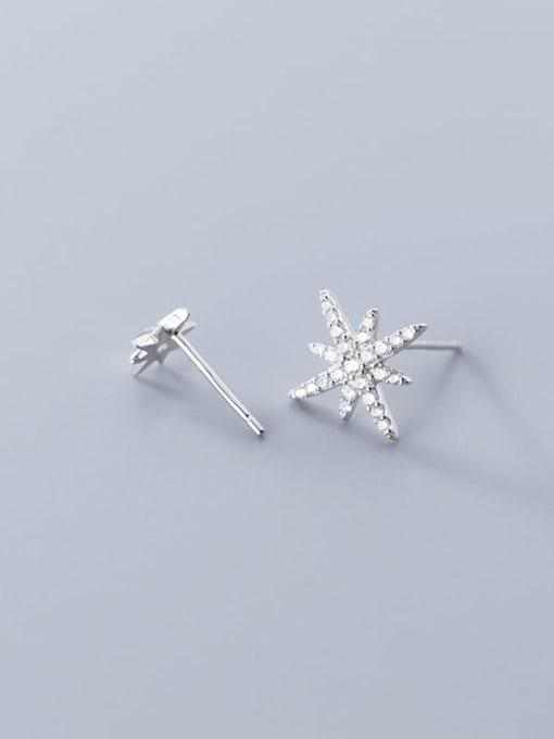 Rosh 925 Sterling Silver Cubic Zirconia  Asymmetry Star Trend Stud Earring 2