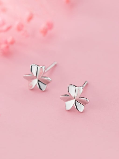 Rosh 925 Sterling Silver Smooth Flower Minimalist Stud Earring 1
