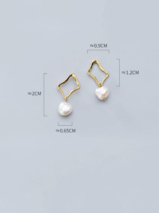 Rosh 925 Sterling Silver Imitation Pearl Hollow Geometric Minimalist Drop Earring 4