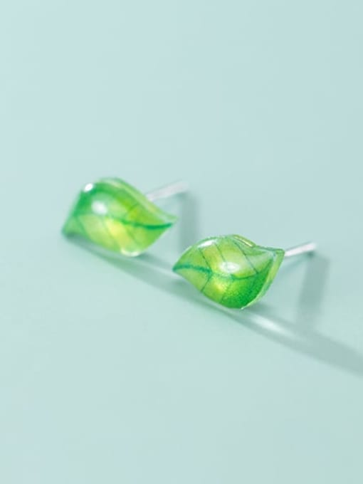 Rosh 925 Sterling Silver Leaf Minimalist Stud Earring 0