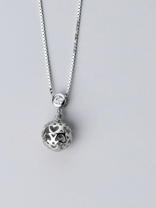 Rosh 925 sterling silver Heart hollow round ball pendant necklace
