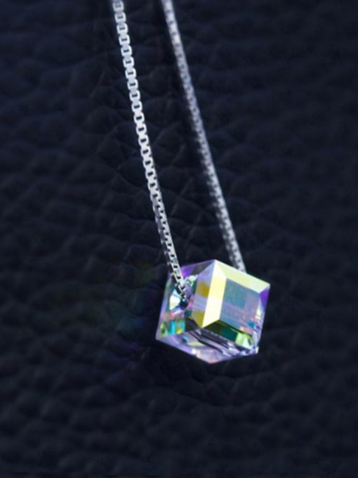 Austrian Crystal Square 6mm 40CM 925 Sterling Silver  Austrian crystal shiny colorful pendant Necklace