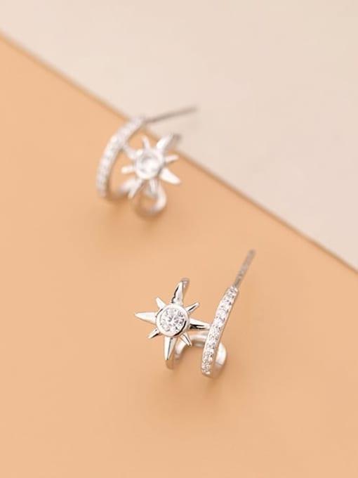 Rosh 925 Sterling Silver Cubic Zirconia  Flower Minimalist Clip Earring 2