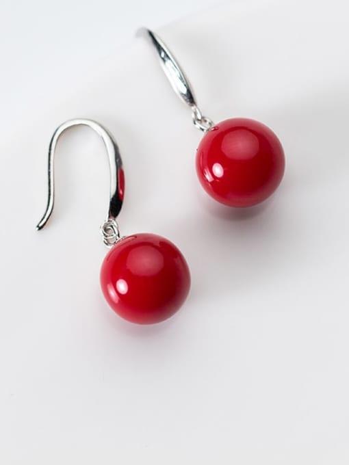 Rosh 925 Sterling Silver Red Enamel Round Ball Minimalist Hook Earring 1