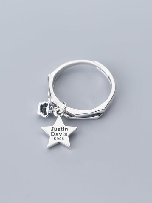 Rosh 925 Sterling Silver  Vintage  Fashion crown pentagram Free Size Ring 0