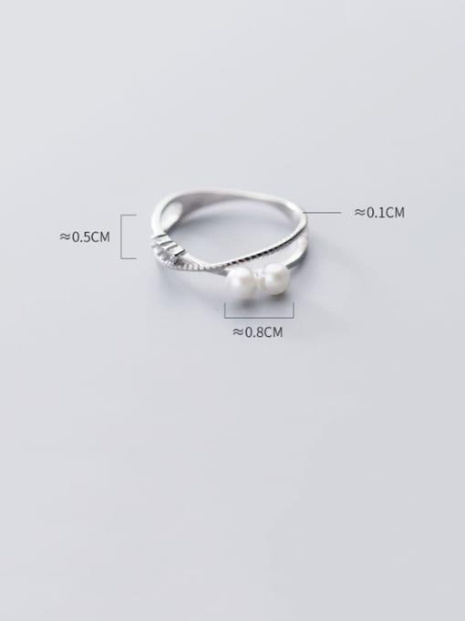 Rosh 925 sterling silver imitation pearl  cross minimalist free size ring 3