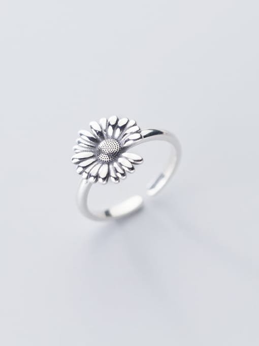 Rosh 925 Sterling Silver Flower Vintage Free Size Band Ring 0