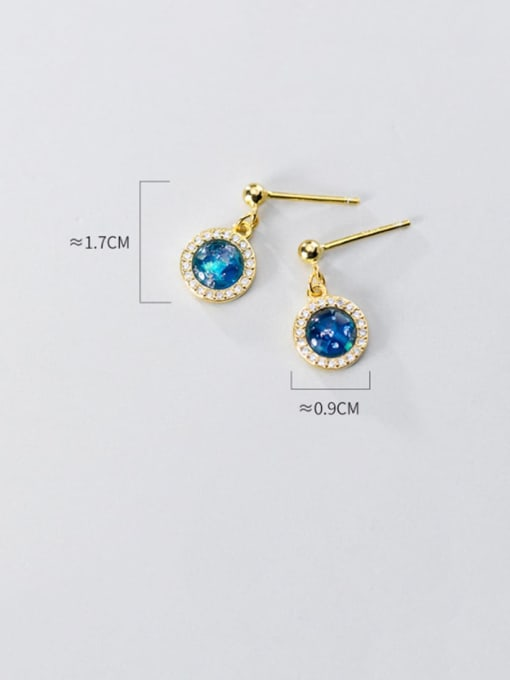 Rosh 925 Sterling Silver Cubic Zirconia Blue Geometric Minimalist Stud Earring 4