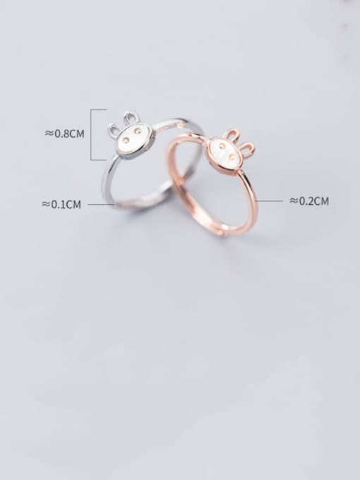 Rosh 925 Sterling Silver  Cute  Fashion cute shell rabbit free size Ring 4