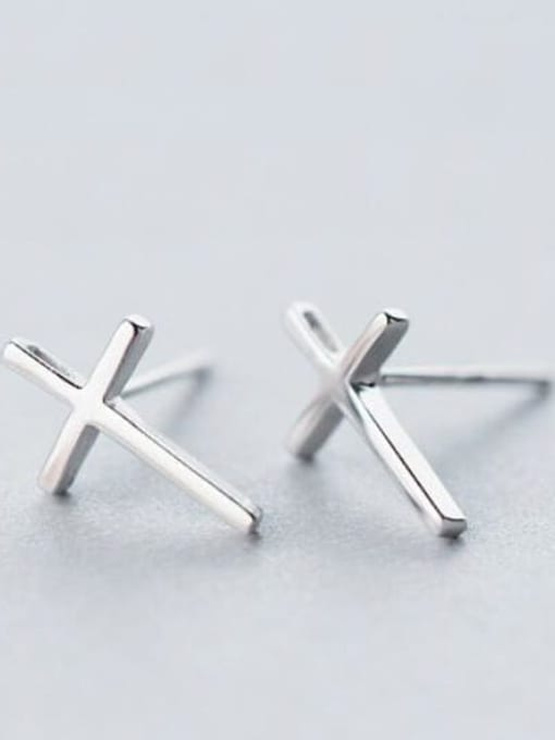 Rosh 925 Sterling Silver Smooth Cross Minimalist Stud Earring 3