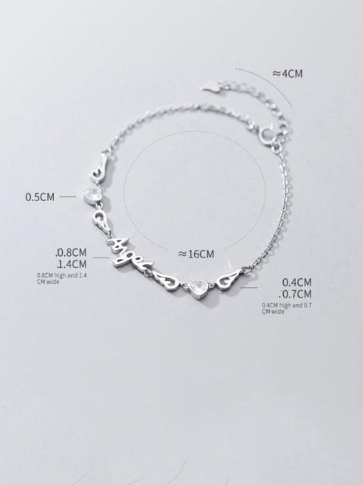Rosh 925 Sterling Silver Cubic Zirconia  Letter Minimalist Bracelet 3