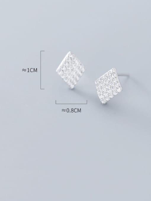 Rosh 925 Sterling Silver Full Rhinestone  Geometric Dainty Stud Earring 3