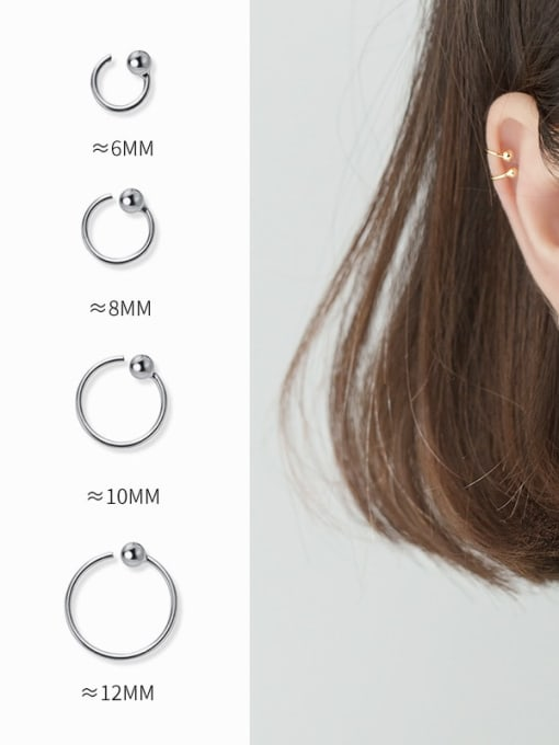 Rosh 925 Sterling Silver Round Vintage Simple Smooth Beads Study Earring 1