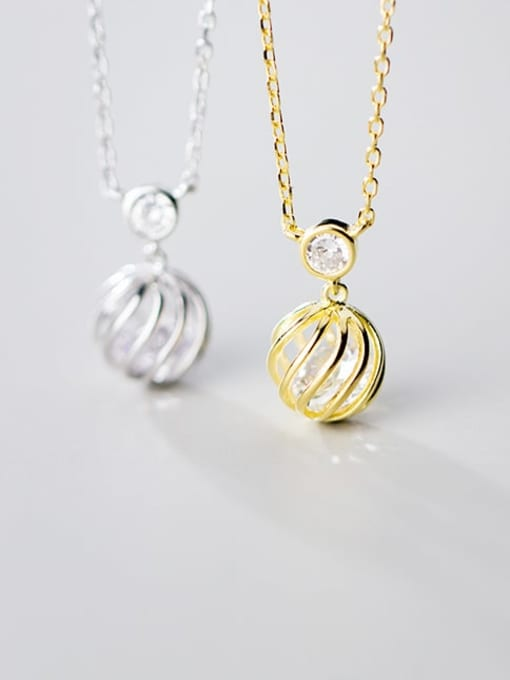 Rosh 925 Sterling Silver Simple hollow ball pendant Necklace