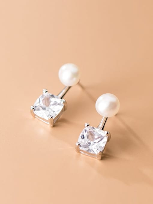 Rosh 925 Sterling Silver Cubic Zirconia  Square Minimalist Stud Earring 0
