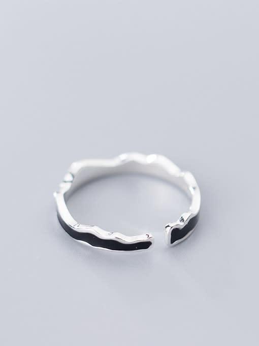 Rosh 925 Sterling Silver Enamel Black Irregular Minimalist  Wave Free Size Ring 2