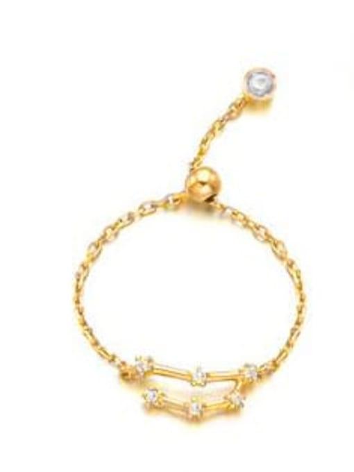 Scorpio 925 Sterling Silver Cubic Zirconia twelve  Constellation Minimalist Band Ring