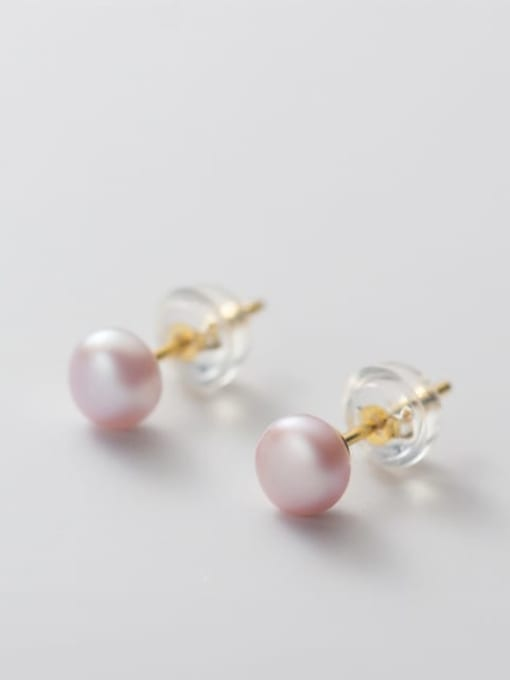 Purple Pearl Earrings Gold 5 6mm 925 Sterling Silver Freshwater Pearl  Round Minimalist Stud Earring