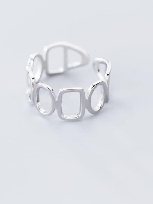 Rosh 925 Sterling Silver Hollow Geometric Minimalist Free Size Ring