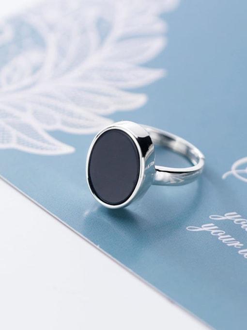 Rosh 925 sterling silver minimalist  black  round  acrylic Free Size ring 3