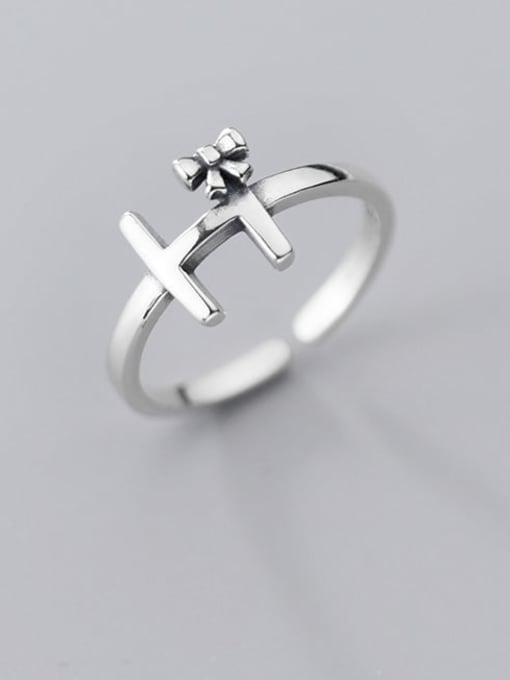 Rosh 925 Sterling Silver Cross Vintage Free Size Ring 1
