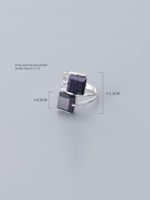 Rosh 925 Sterling Silver Obsidian Black Geometric Minimalist Free Size  Ring 3