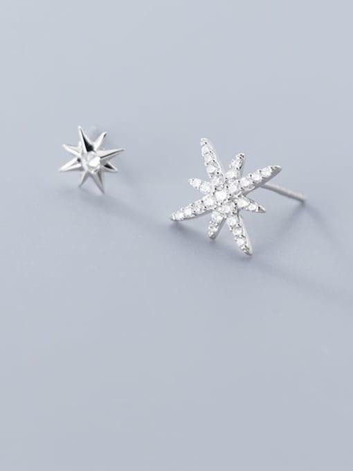 Rosh 925 Sterling Silver Cubic Zirconia  Asymmetry Star Trend Stud Earring 1